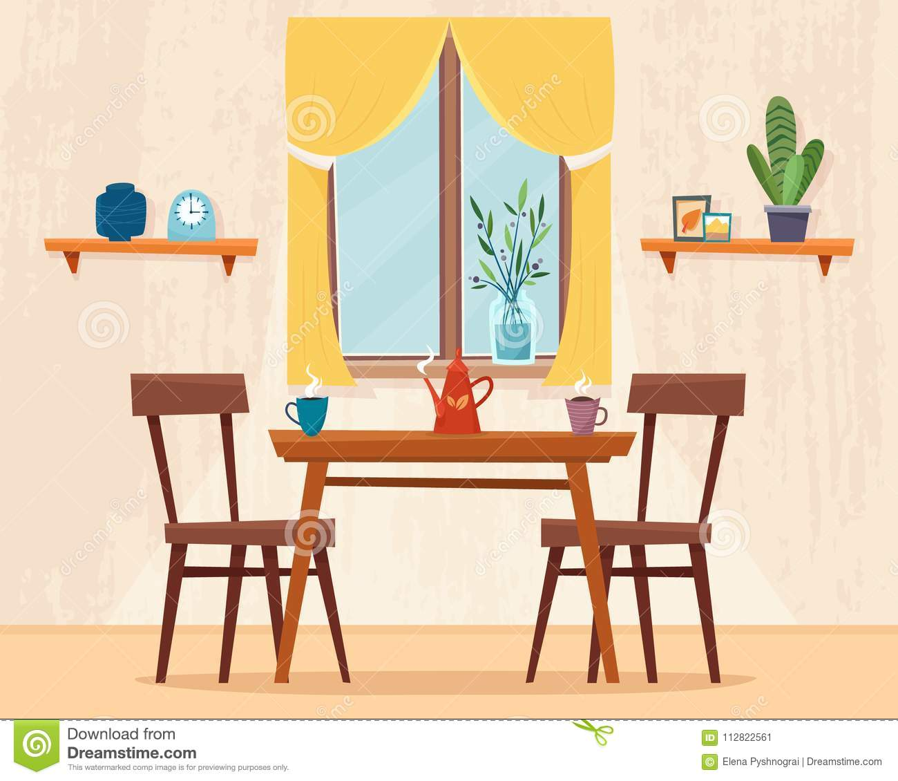 Dining Table In Kitchen With Chairs Stock Vector Illustration Of