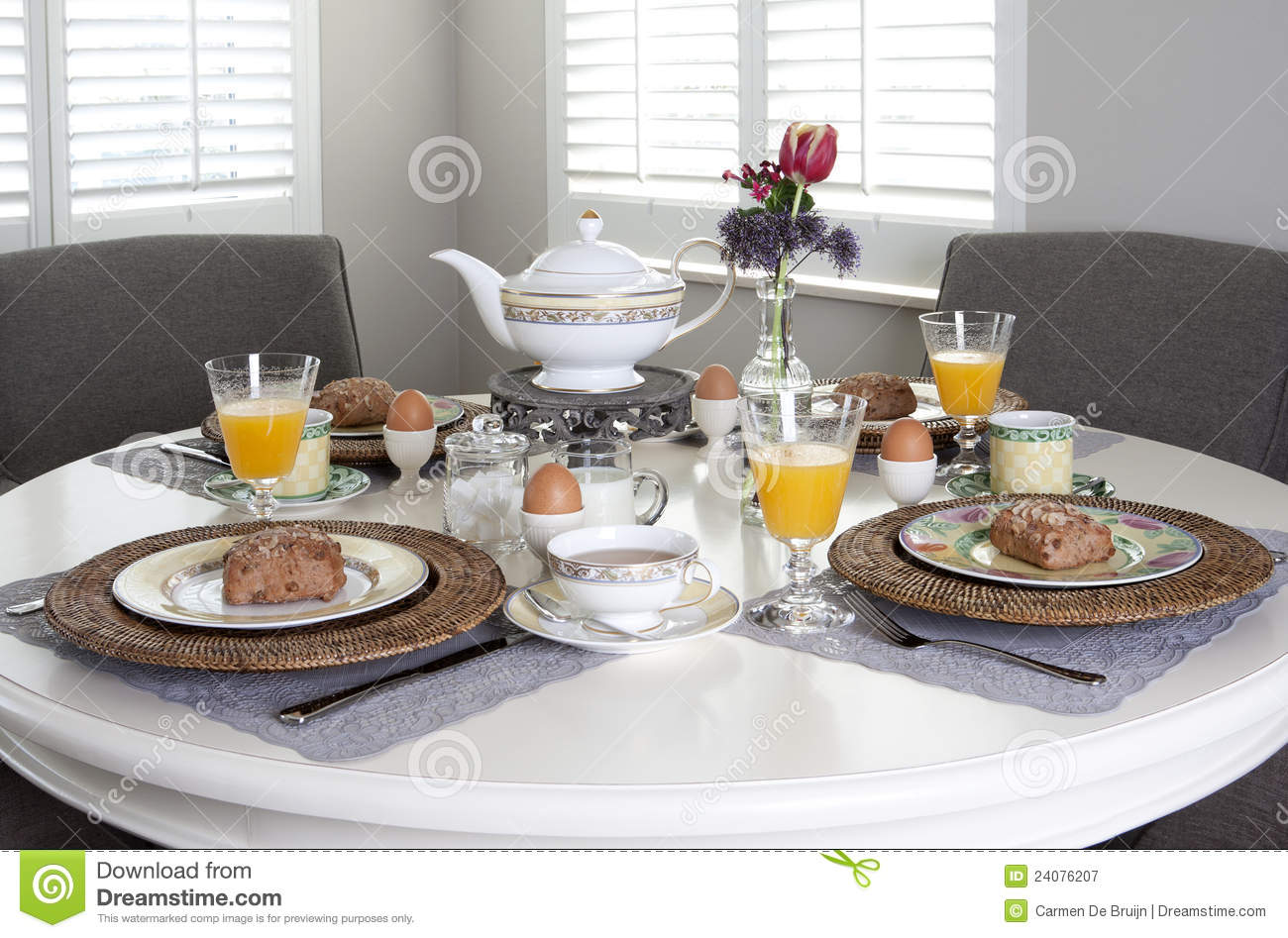 Dining Table Laid For Breakfast Royalty Free Stock
