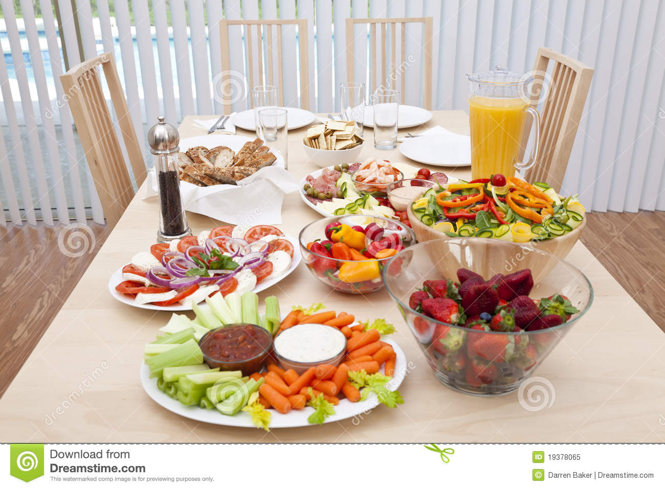 Dining table laid for a healthy salad lunch stock image for Salas lunchs