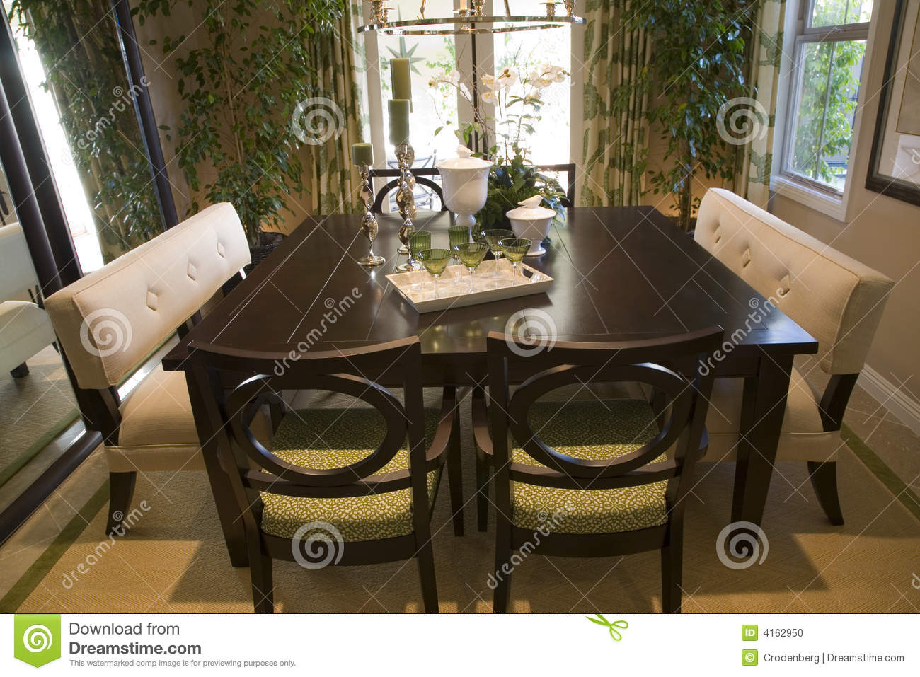 dining table with luxury decor stock photo image 4162950. Black Bedroom Furniture Sets. Home Design Ideas