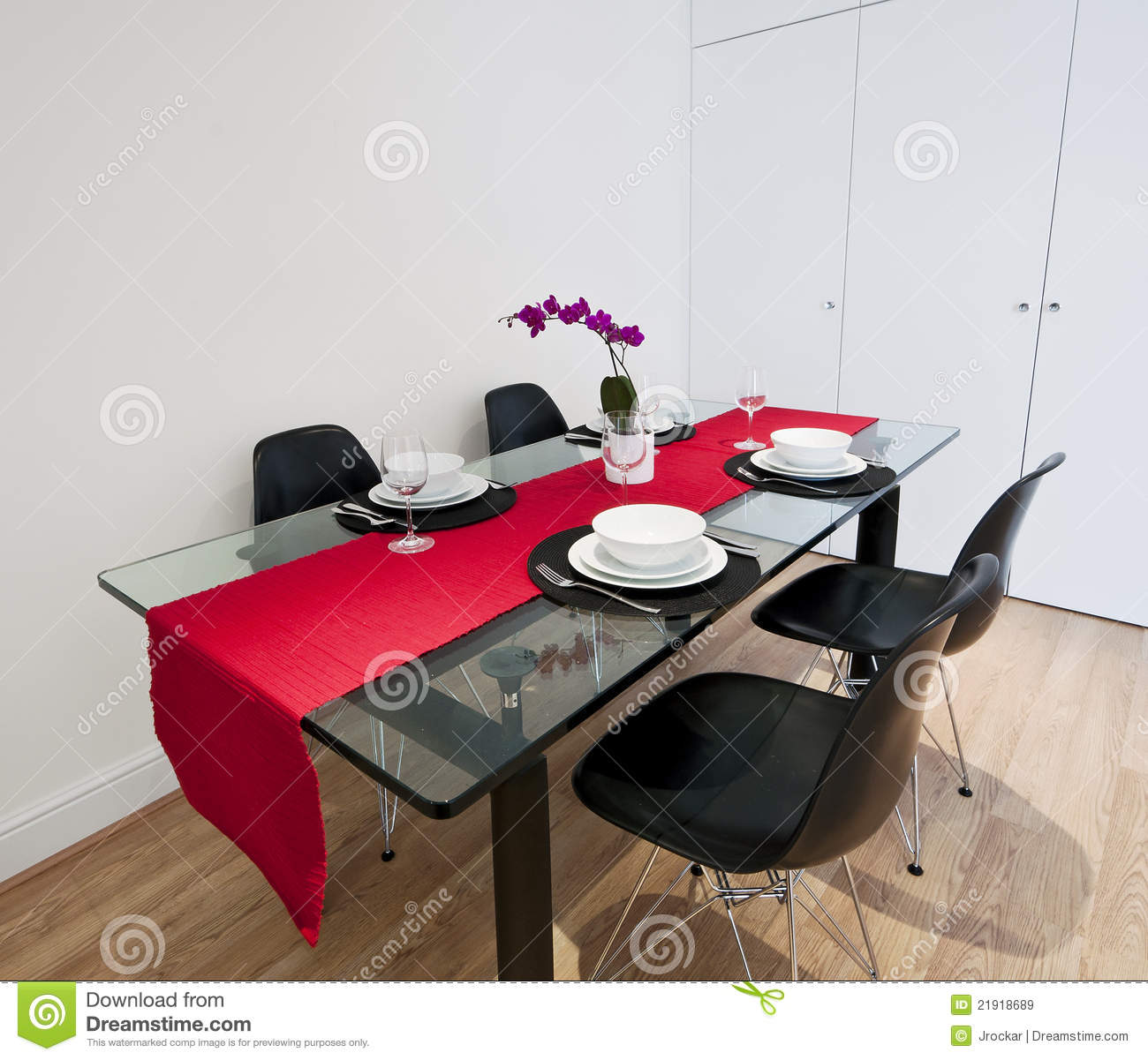 Dining Table With Red Cloth Royalty Free Stock Images