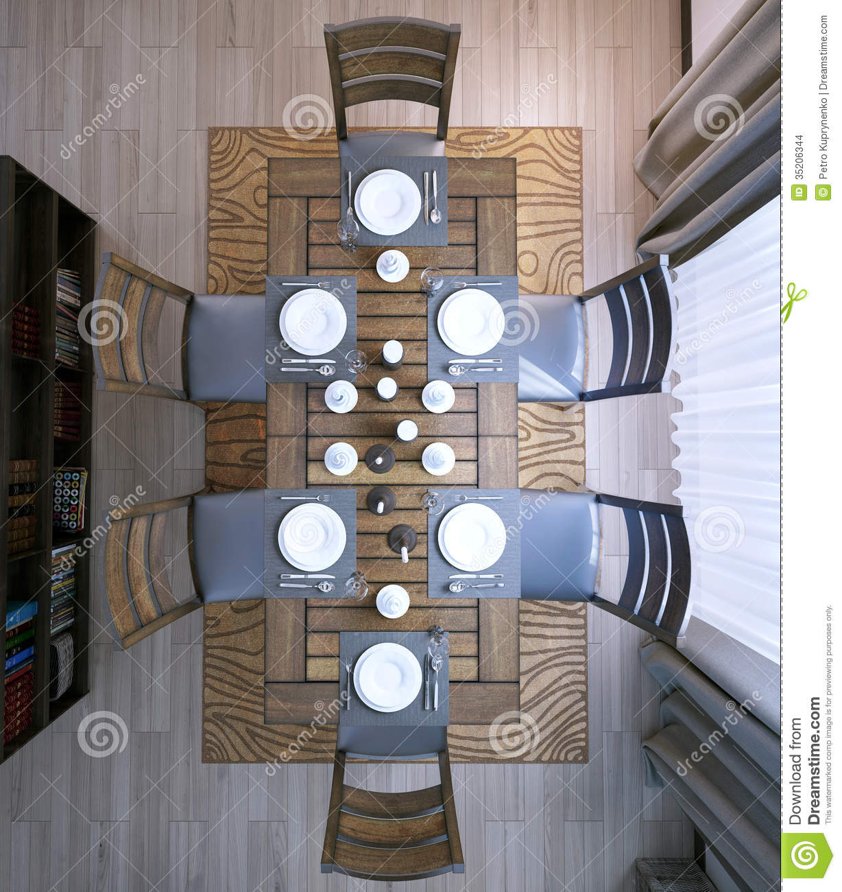 Dining table stock images image 35206344 for Dining room 3d view