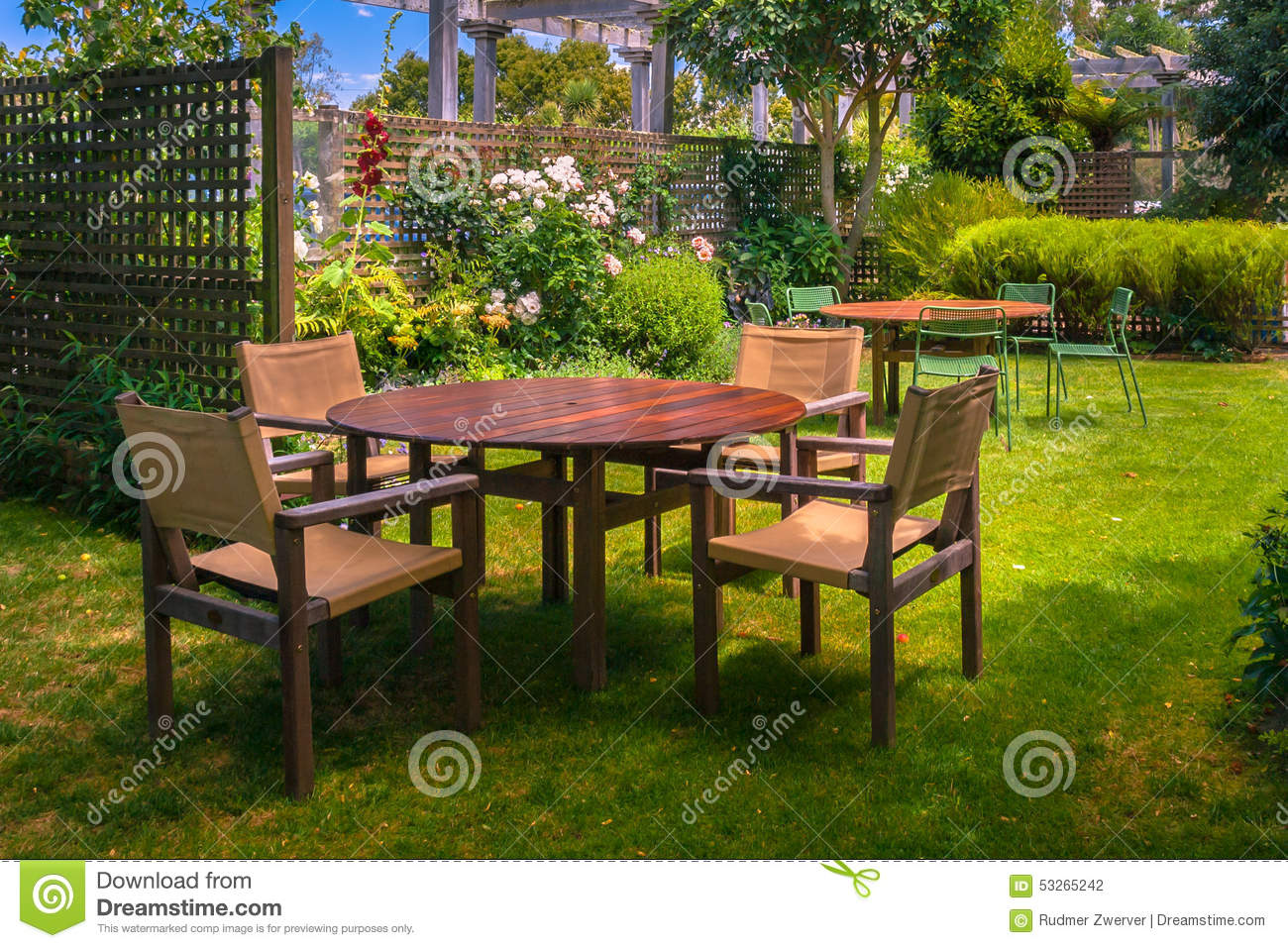 Shade For Sunny Backyard : Sunny Landscaped Garden with Wooden Dining Table Set in the Shade of