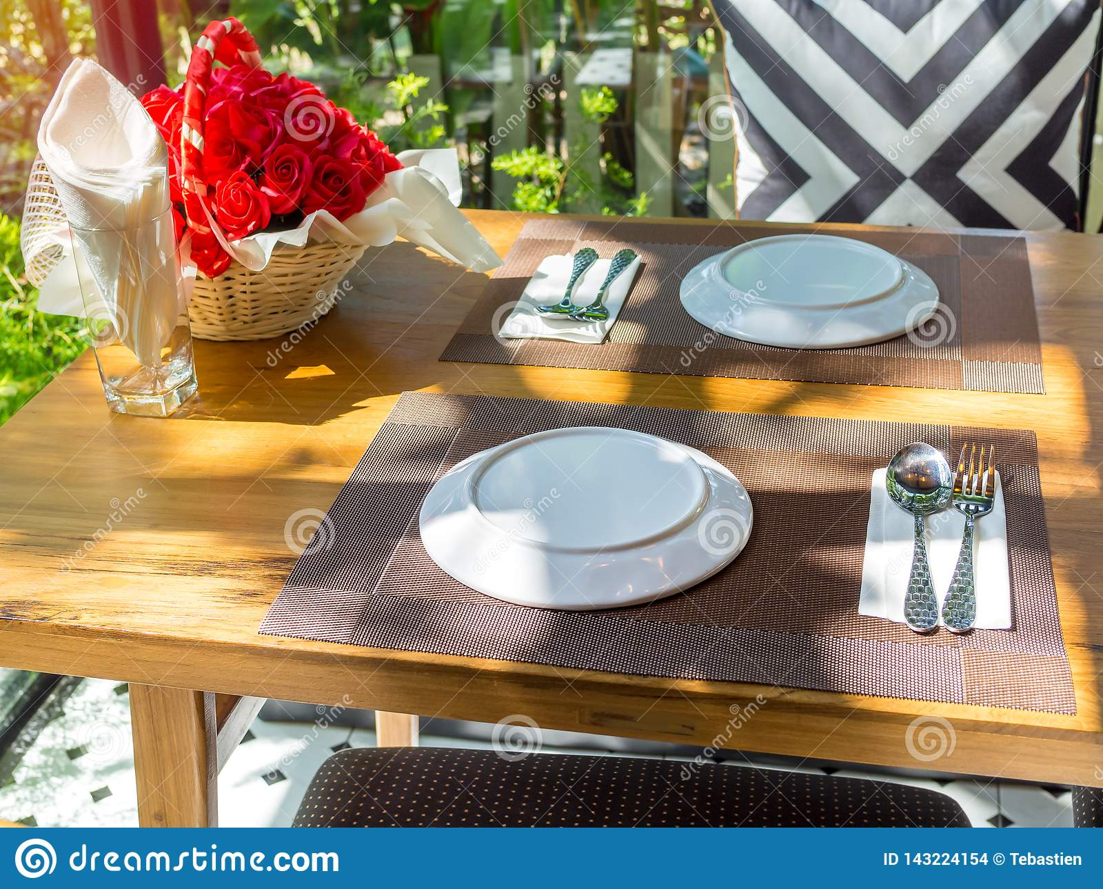 Dining Table Set In Restaurant With Romantic Sunshine Stock Photo Image Of Lover Lunch 143224154