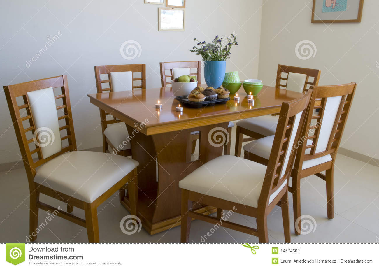 Dining Table With Six Chairs Stock Image Image Of Decoration Fork 14674603