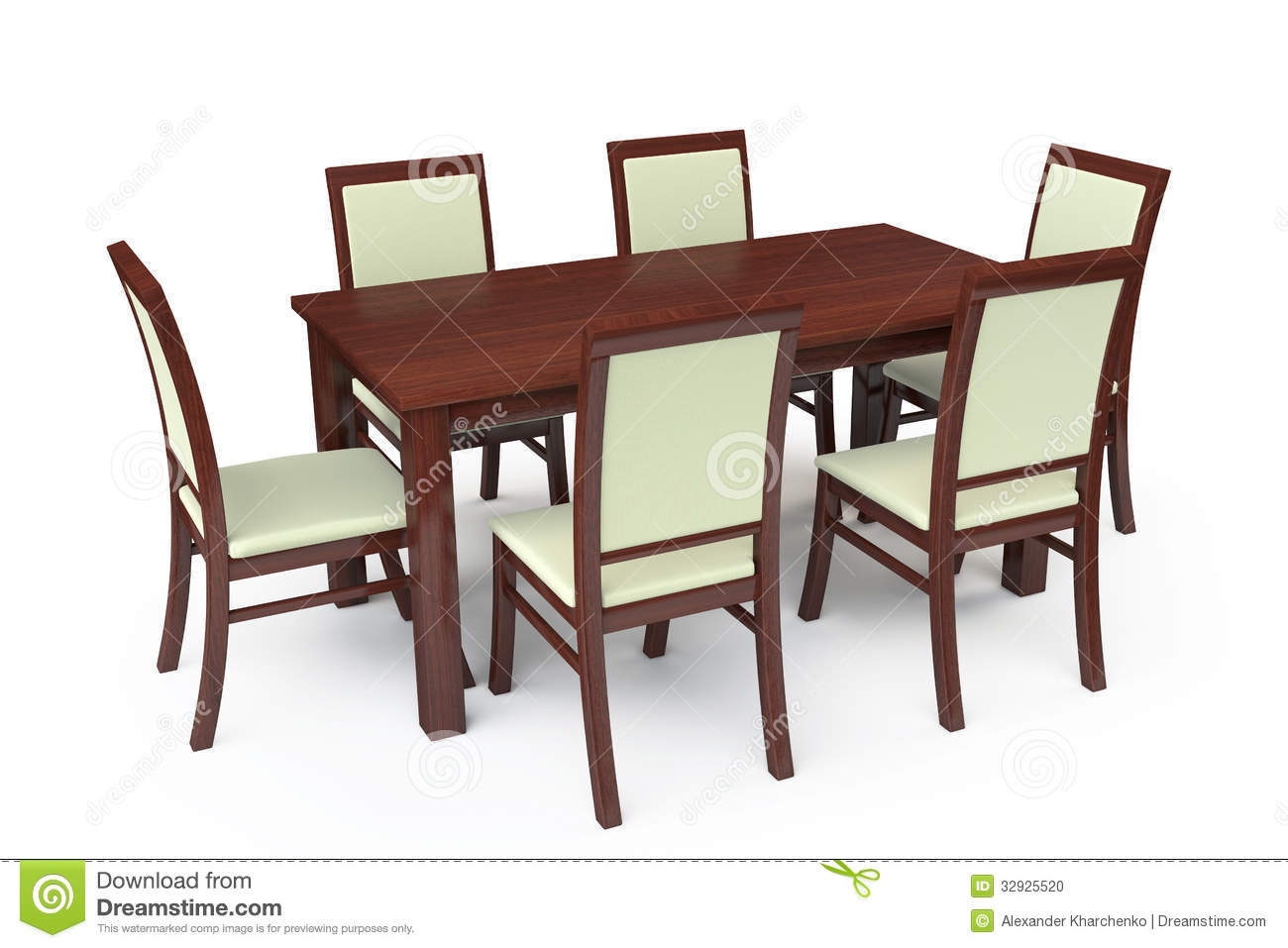 Dining table with six chairs stock illustration for White dining table and 6 chairs