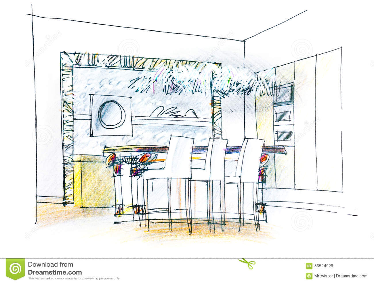 Dining table sketch stock photo image of perspective Room sketches interior design