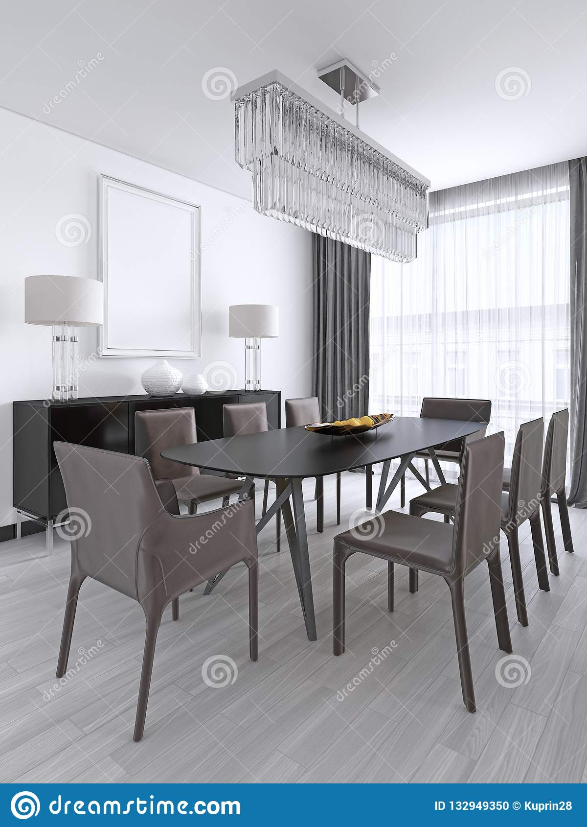 Dining Table In A Studio Apartment In The Scandinavian Style Stock Illustration Illustration Of Estate Floor 132949350