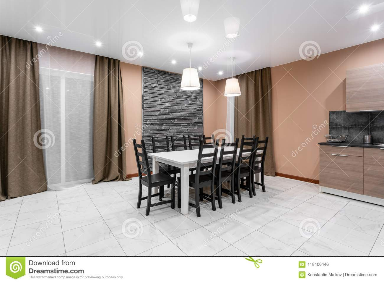 Dining Table For Ten People Modern Minimalism Style Drawing Room Interior Simple And Inexpensive Living Room With Stock Photo Image Of Marble House 118406446