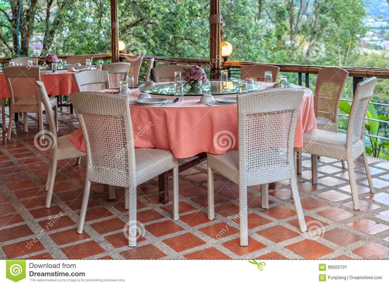 Dining table on terrace stock image image of decoration for Terrace white