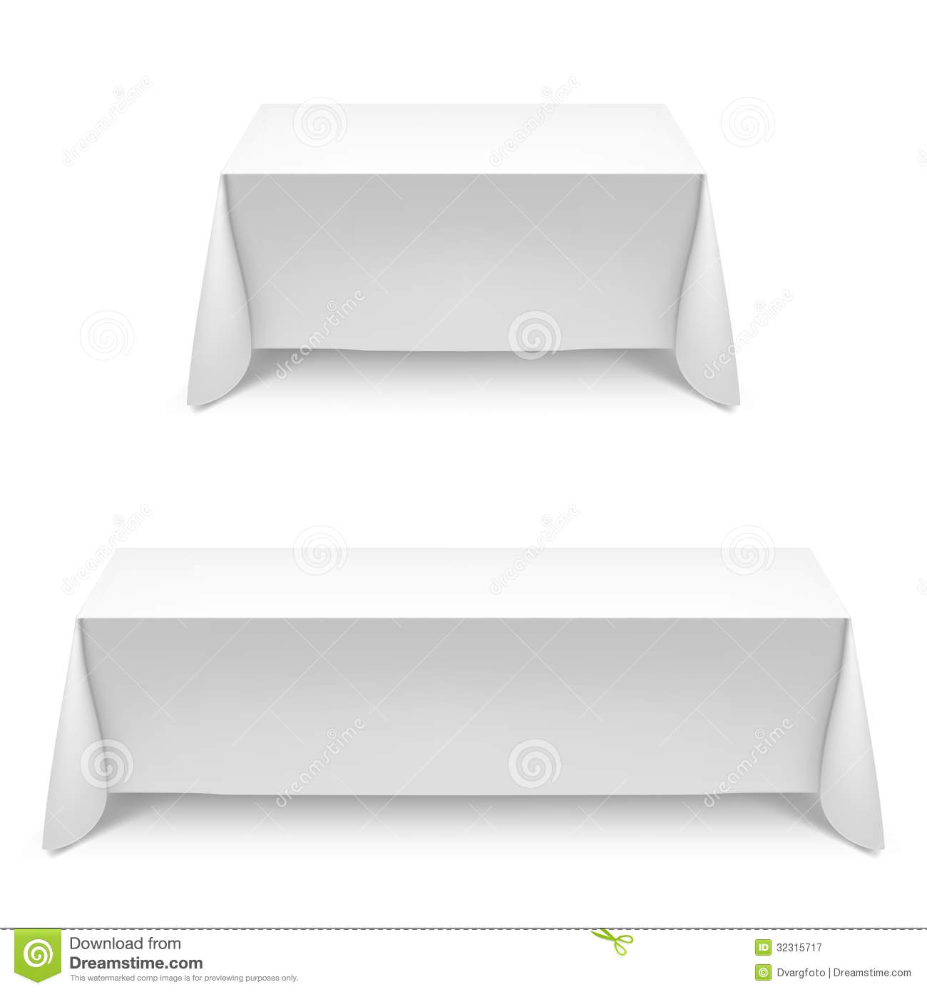 Two white rectangular with table tablecloth. Illustration on white.