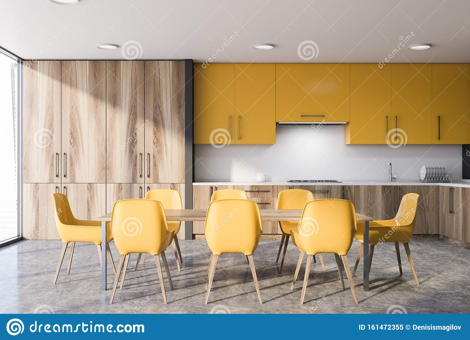 Dining Table In Yellow And Wooden Kitchen Stock Illustration