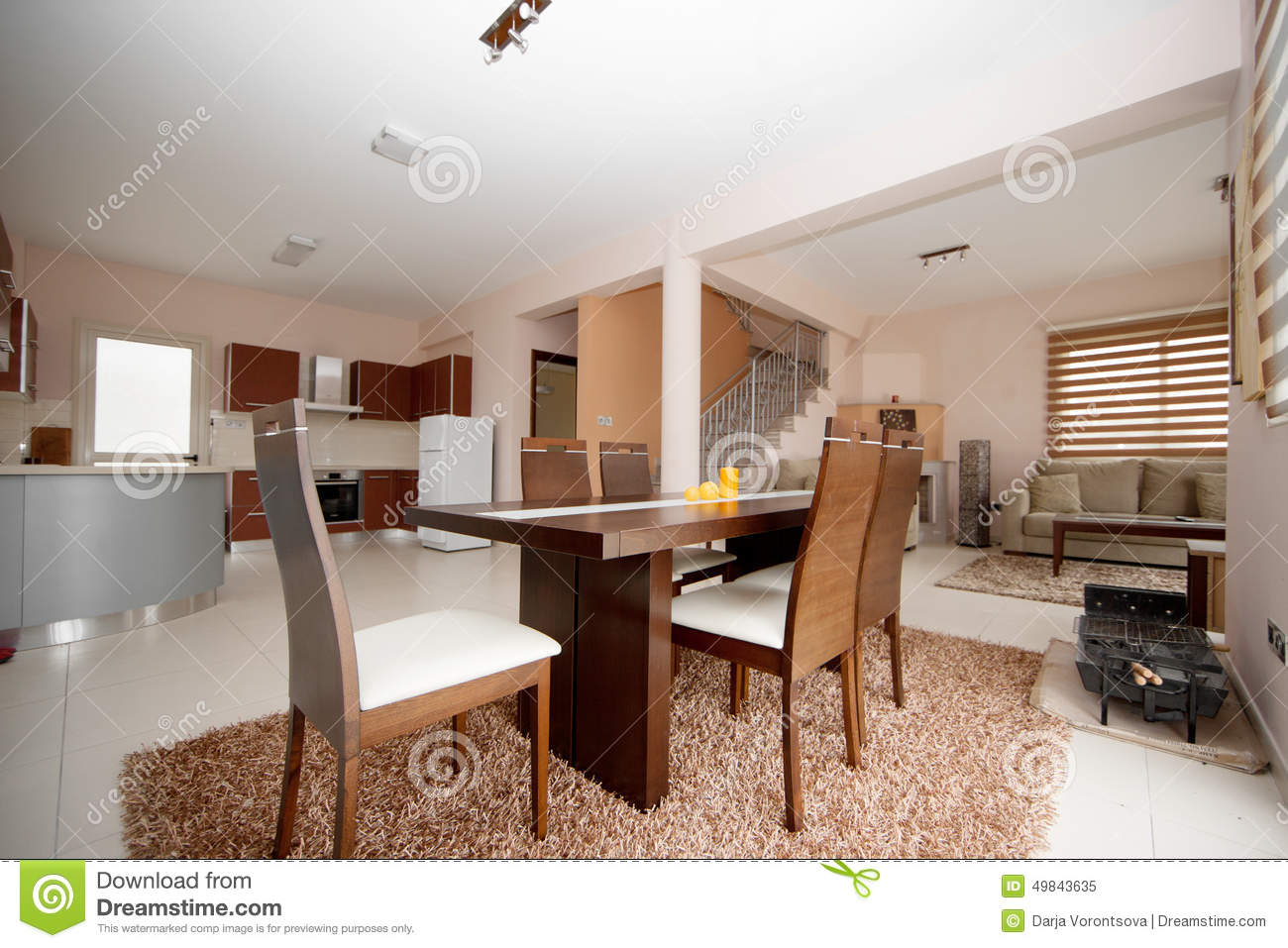 Diningroom kitchen and livingroom stock photo image - Brown and white dining room ...