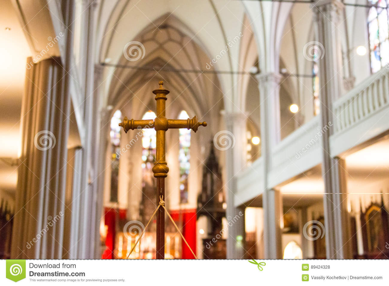 DINKELSBUHL, GERMANY - OCTOBER 02 2016: The interior of the Church of St. George in Dinkelsbuhl, Bavaria. It is a
