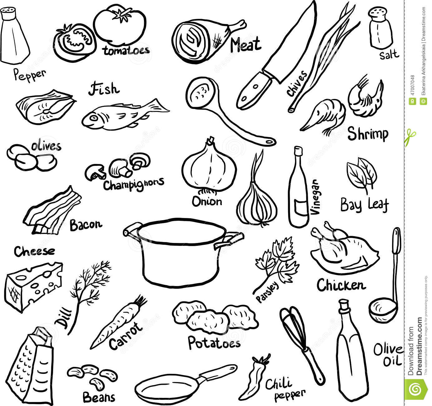 Dinner doodle set stock vector. Illustration of cookery - 47007048