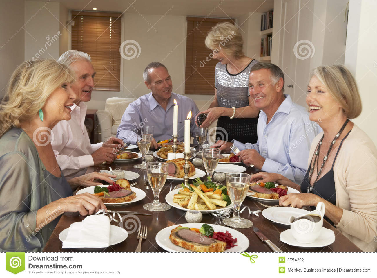 Dinner friends party seated table