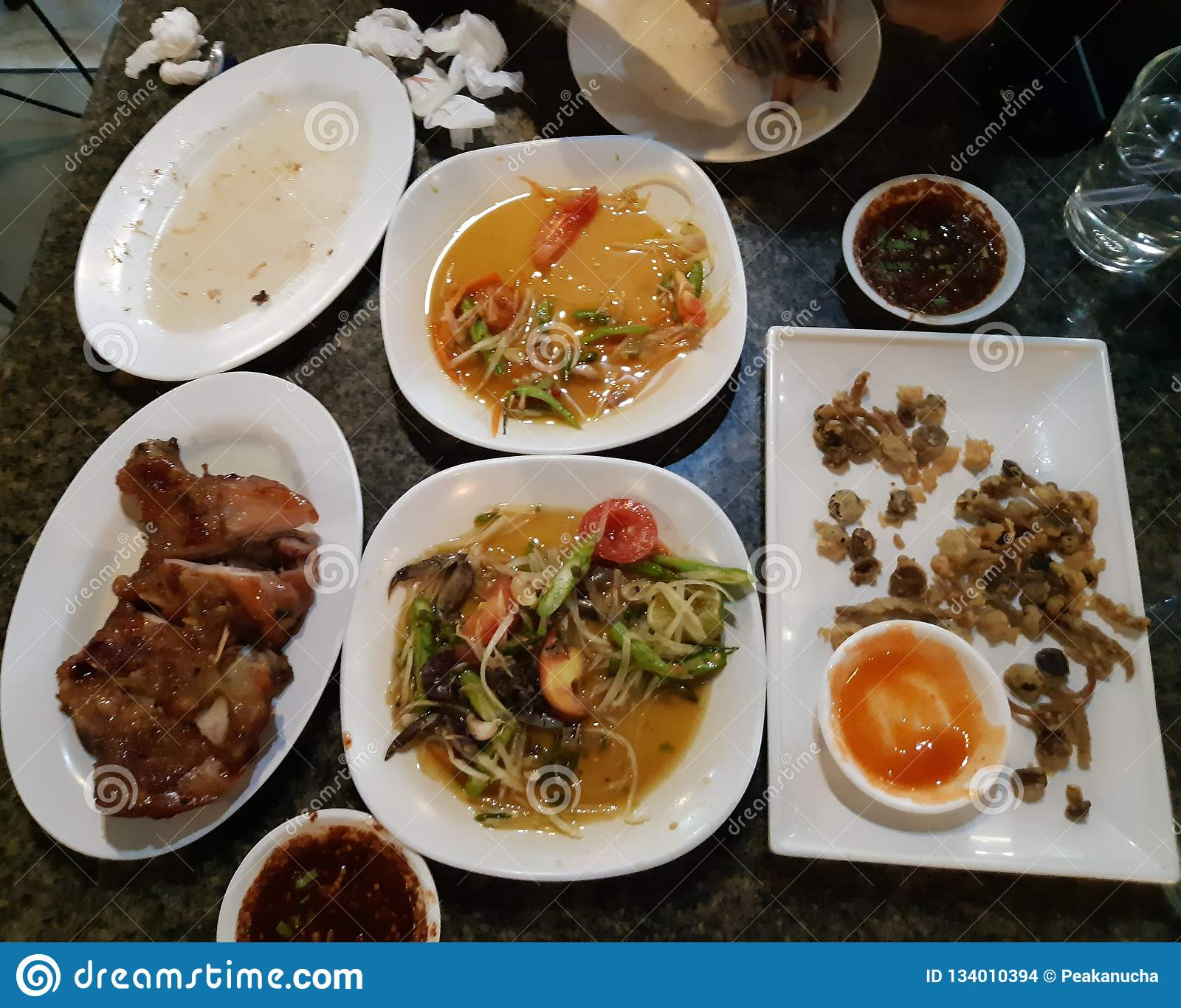 Leftover Foodleave It On The Stone Table Stock Photo Image Of