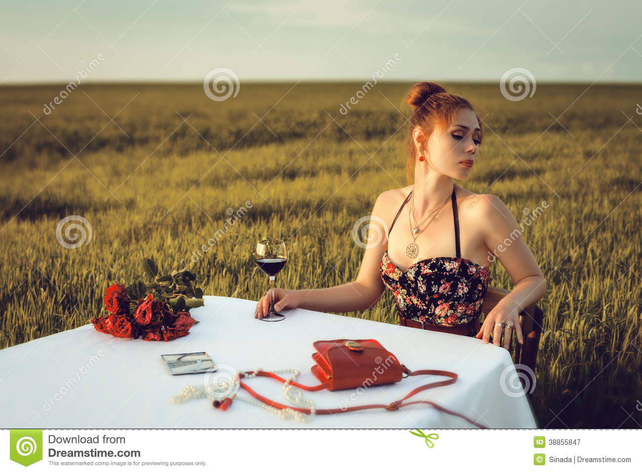 Lonely woman dinner