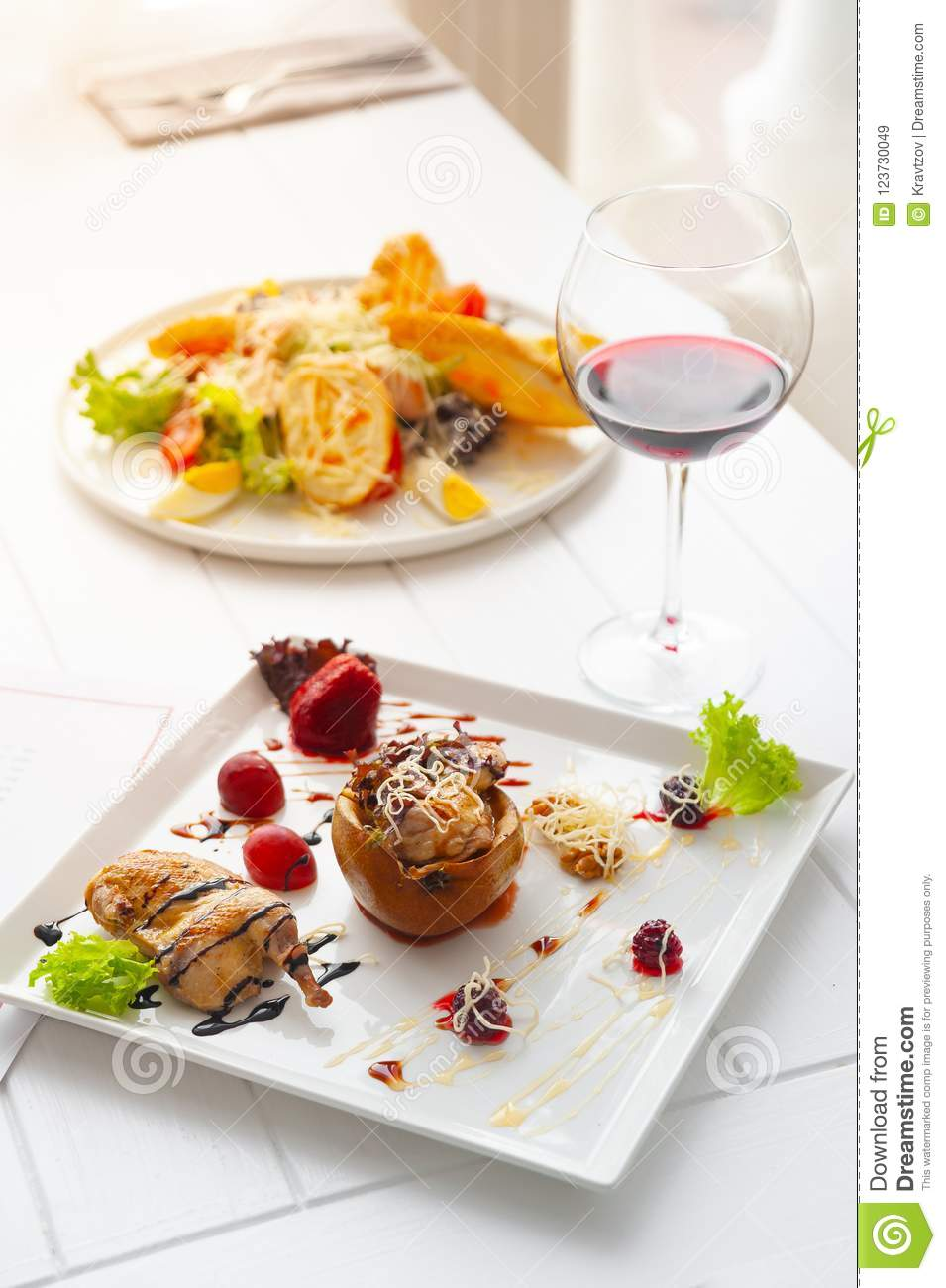 Dinner Or Lunch With Dish Per One Person  Luxury White