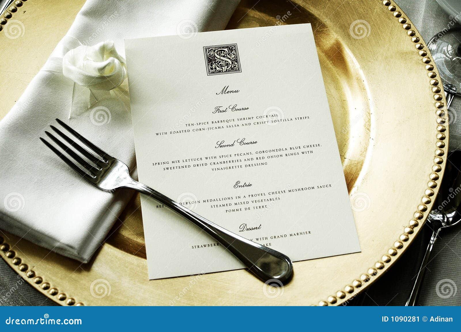 dinner menu stock image  image of dining  gold  wedding