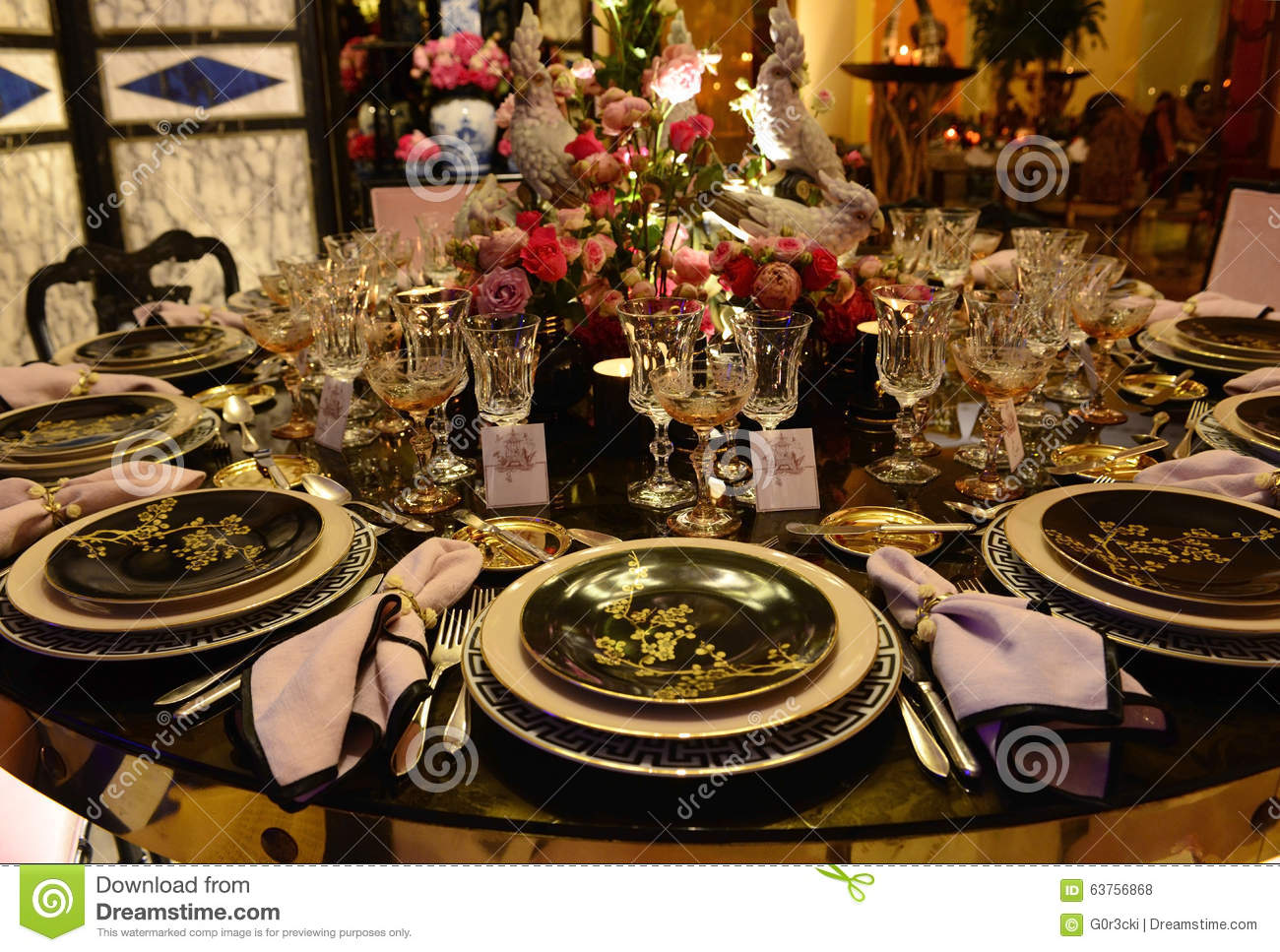 Asian Style Dinner Party Exotic Table Decoration Stock