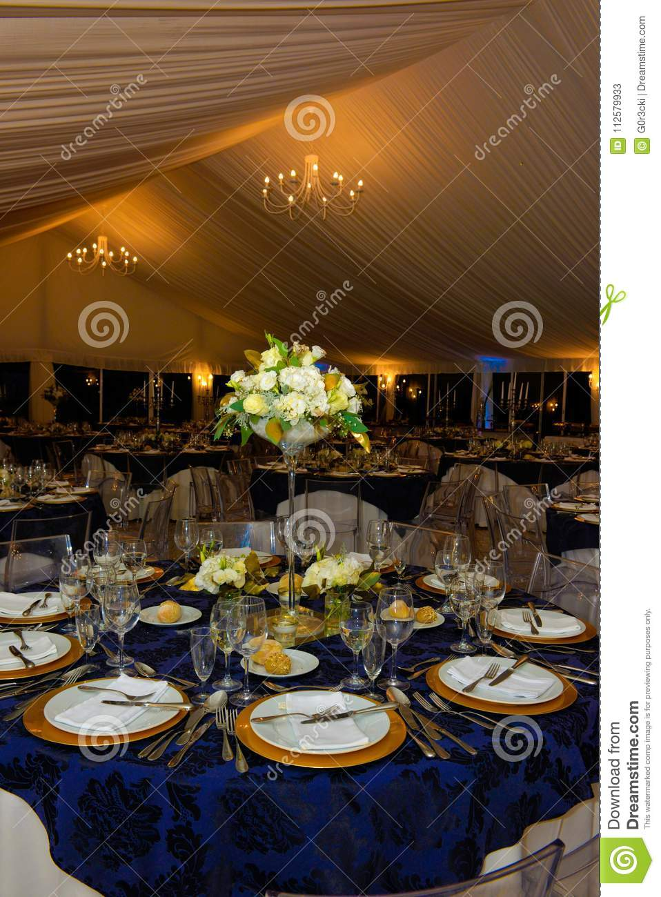 Dinner Party Banquet Tables Decoration Wedding Event Stock Image