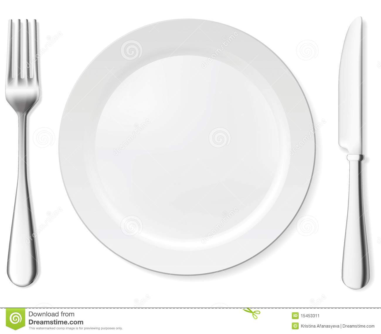 An empty white dish with knife and fork on a table - Dinner Plate Knife And Fork Stock Image