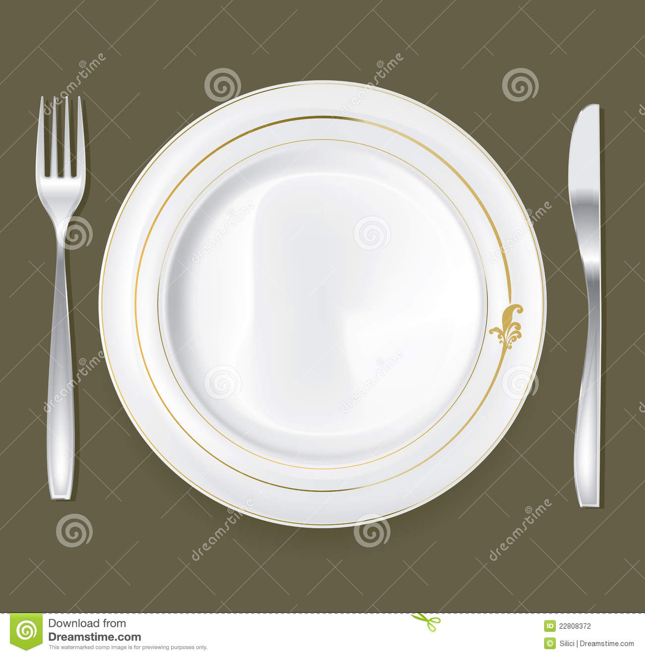 Empty dinner plate drawing the knife and fork set stock