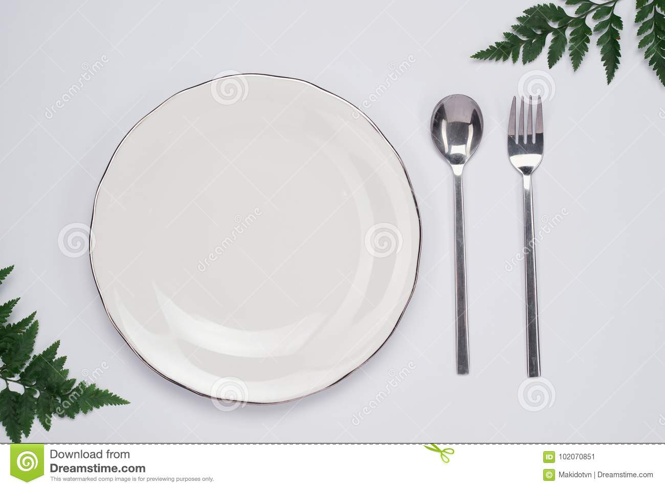 Dinner Plate Setting Top View. Empty Plate And Silverware Set On ...