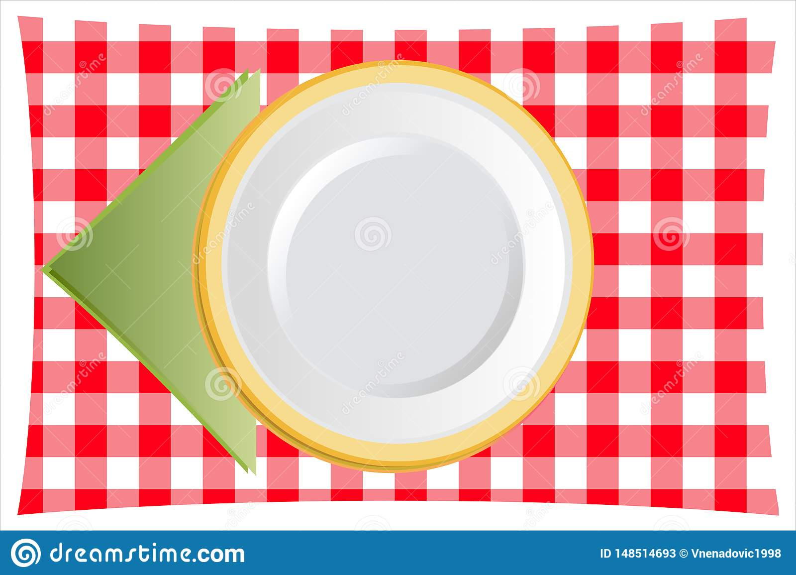 Dinner Plate with table napkin