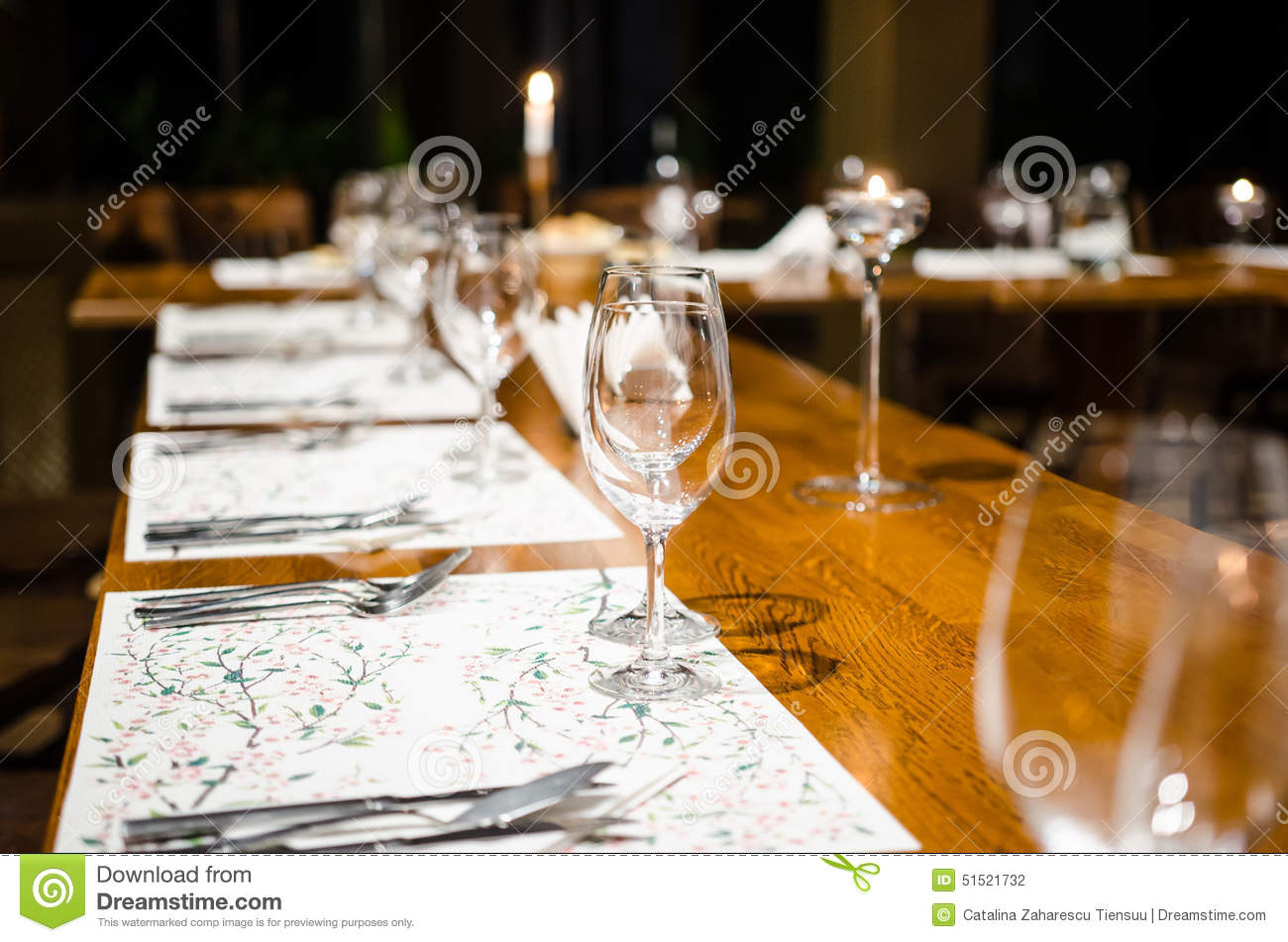 Dinner Set Up Table Stock Photo Image 51521732