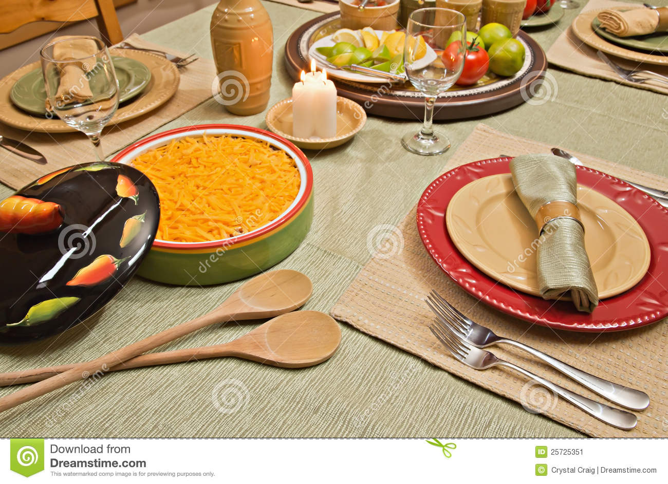 How To Set A Dinner Table dinner table set for mexican food stock image - image: 25725351