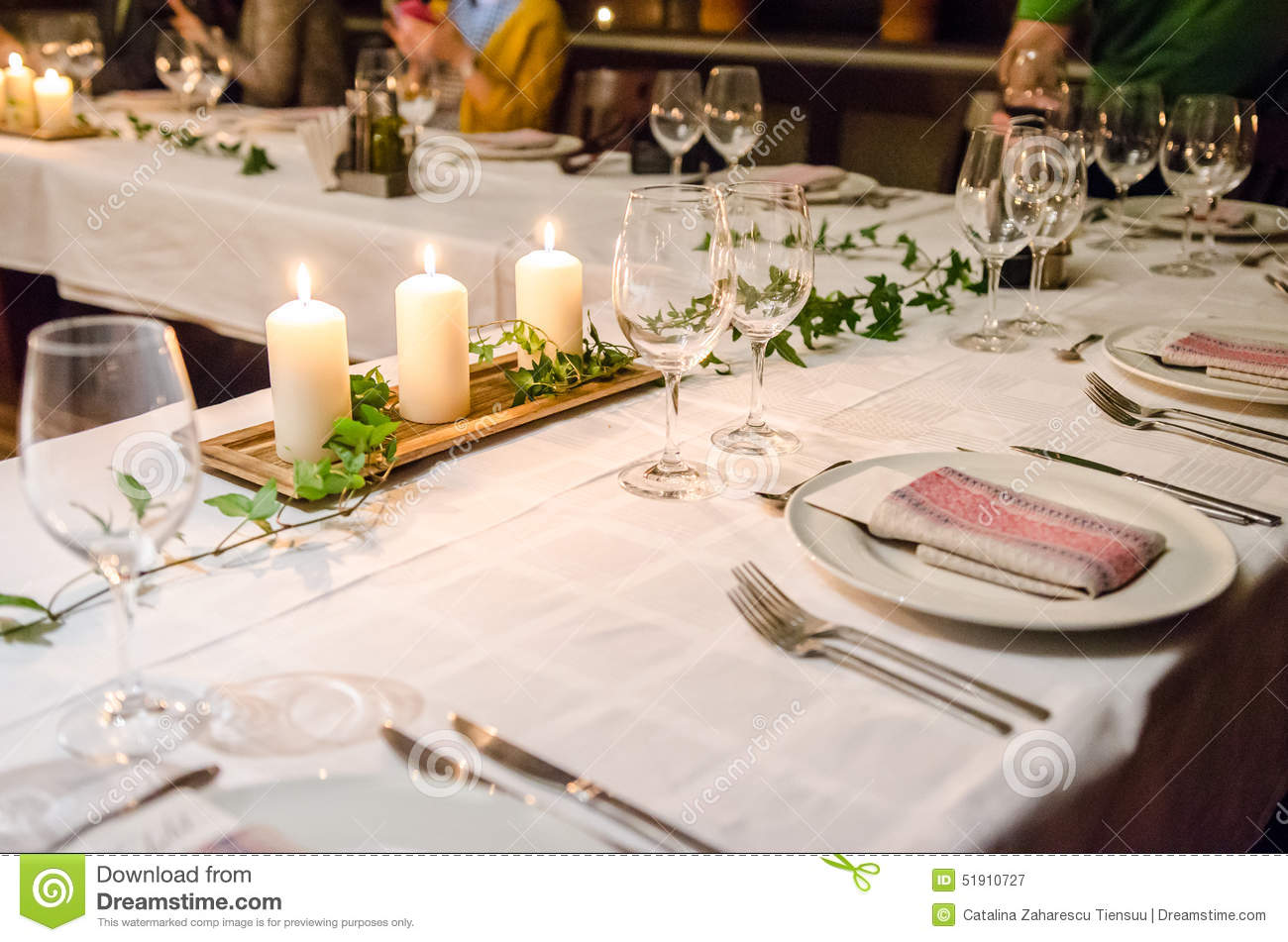 Dinner table setup. Seasonal candles. & Dinner table setup stock image. Image of seasonal candles - 51910727