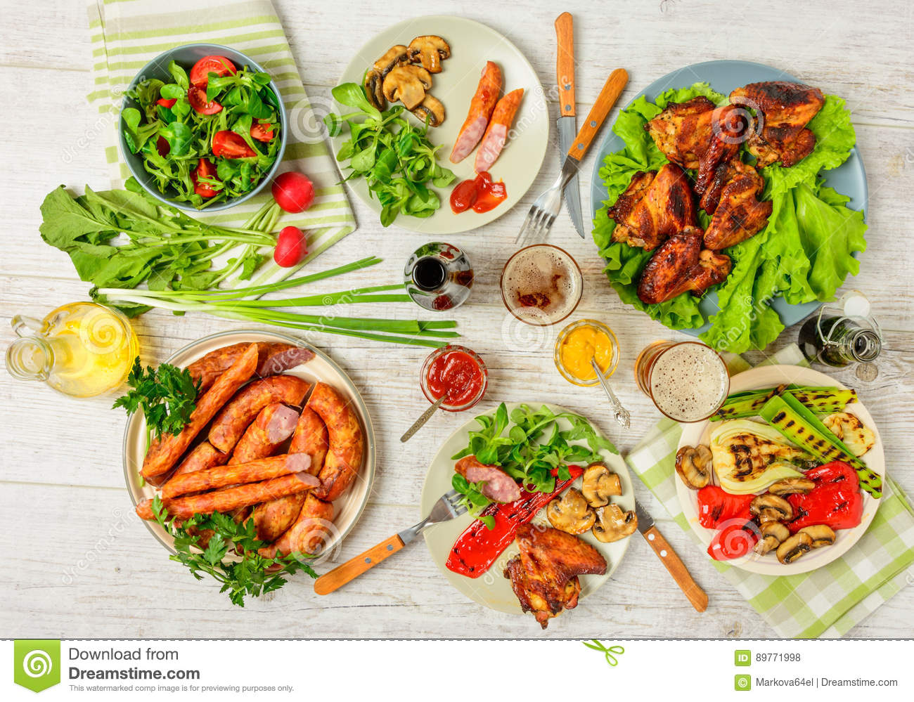 Dinner Table With Variety Food Stock Photo Image Of Beer Cuisine