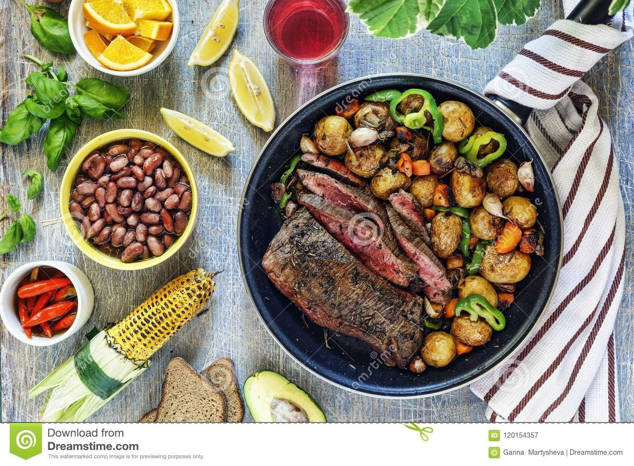 Dinner table, beef, vegetable, mix, grilled, steak, wine, barbecue, stone, background concept food, top view
