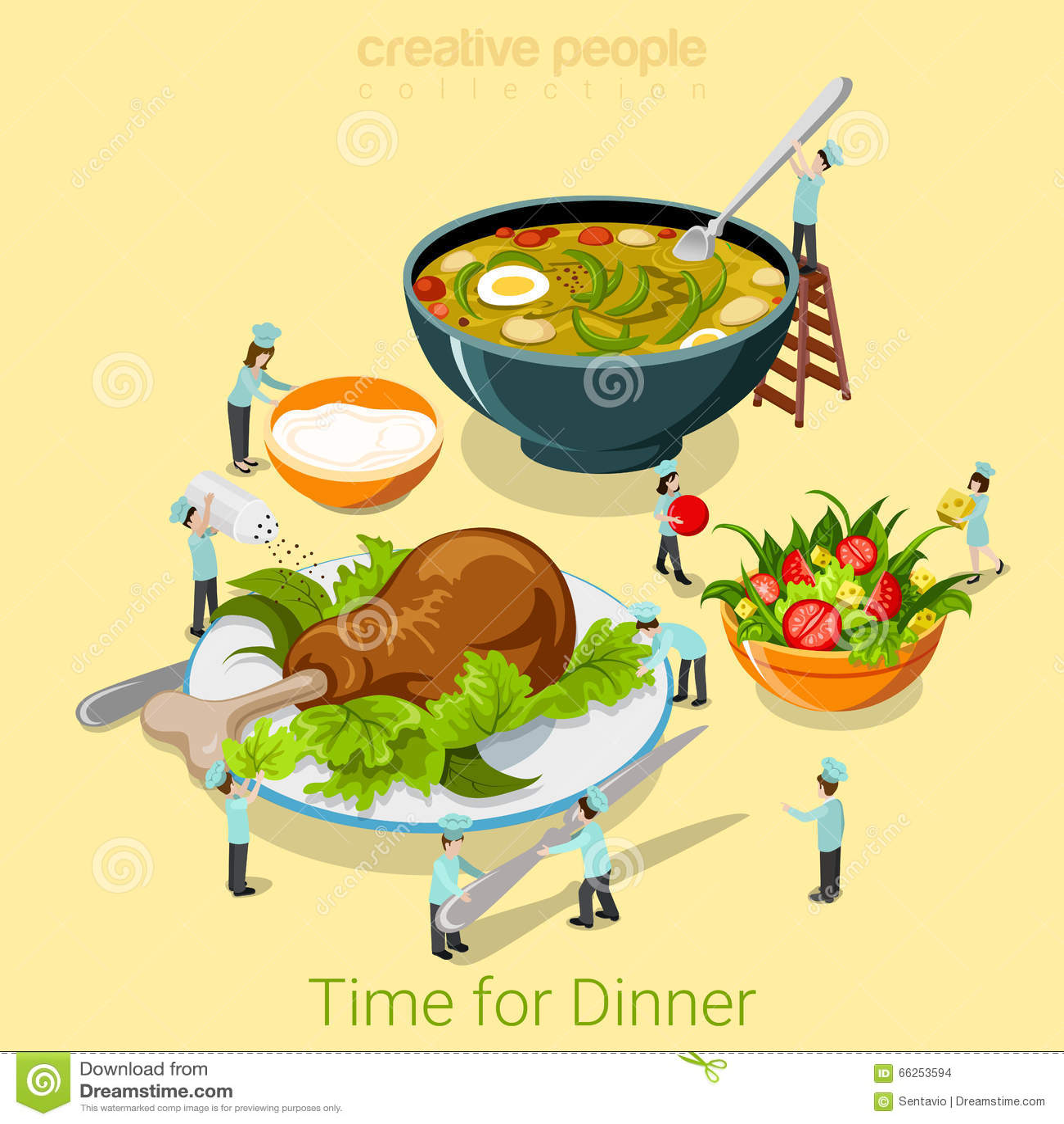 dinner time food cafe restaurant meal flat 3d isometric vector stock vector illustration of. Black Bedroom Furniture Sets. Home Design Ideas
