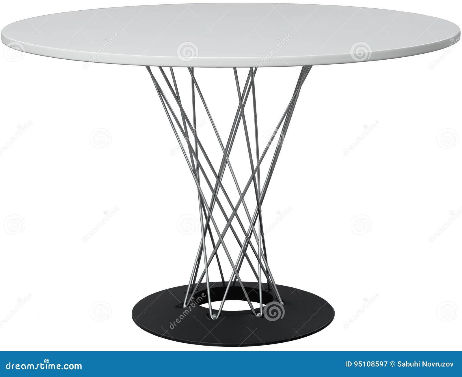 Dinning branco redonda Desenhista moderno, tabela isolada no fundo branco Série de mobília