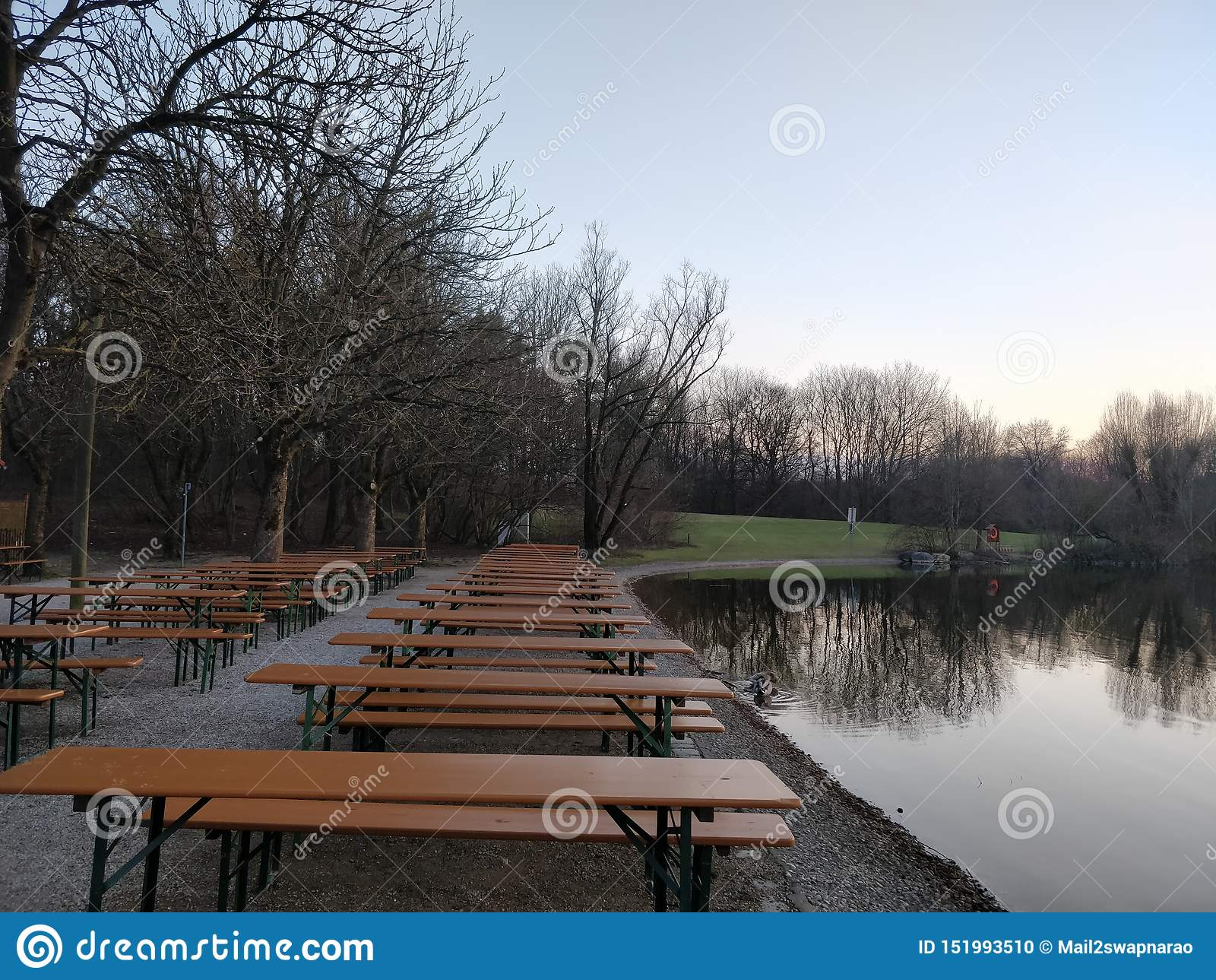 Dinning presenta lungo una sponda del fiume