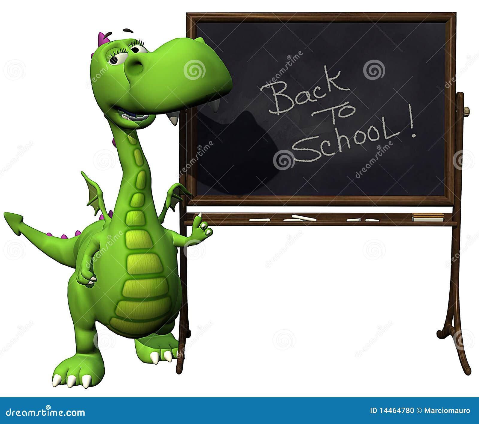 Dino Baby Dragon Green Back To School Blank Stock Photo