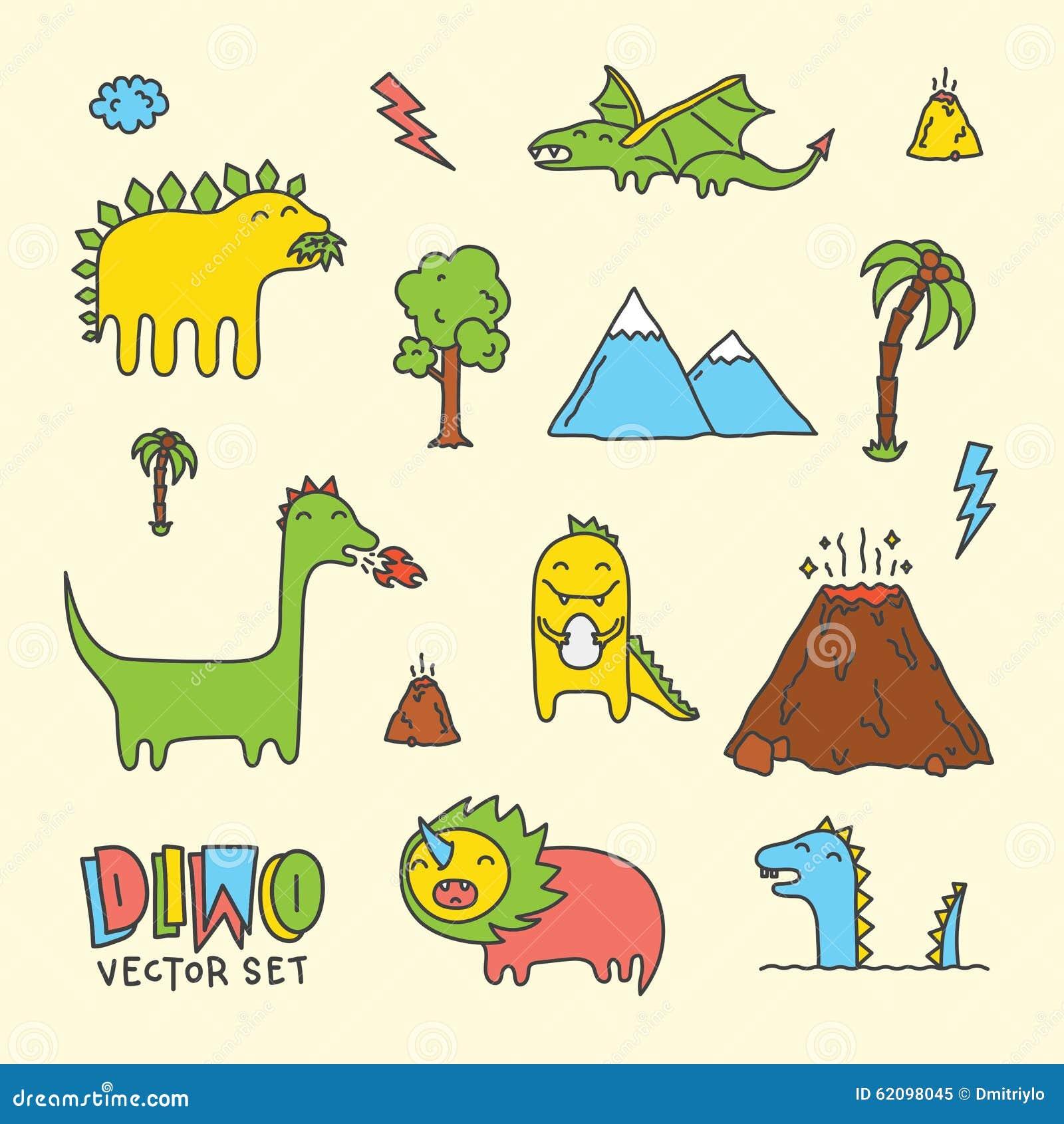 dino cartoon vector set stock vector image 62098045 Dinosaur Print Clip Art cute dinosaur clipart black and white