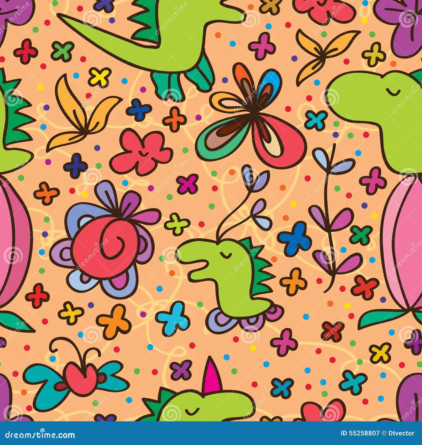 Dino Cute Flower Seamless Pattern Stock Vector