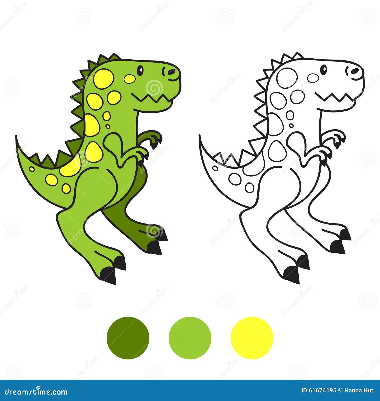 Dino Dinossauro Pagina Do Livro Para Colorir Ilustracao Do Vetor