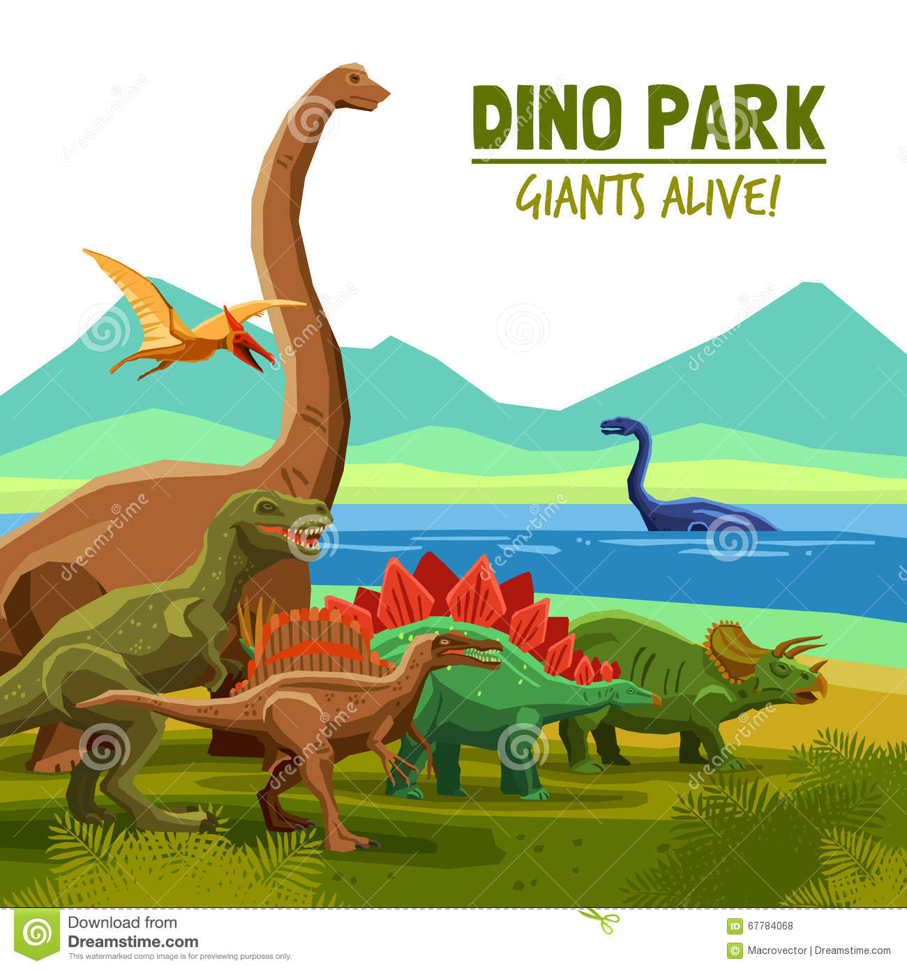 c4600cf992 Different flying swimming and land dinosaurs with lake and mountains on  background dino park cartoon poster vector illustration