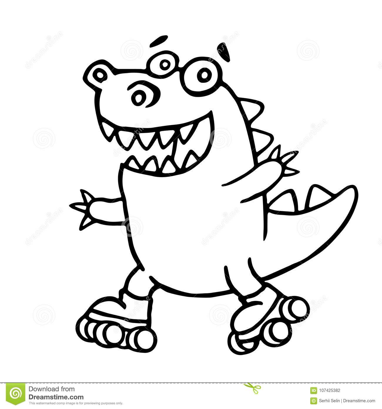 dino racing on rollerblades in the park vector illustration stock rh dreamstime com Tree Frog Vector Frog Prince