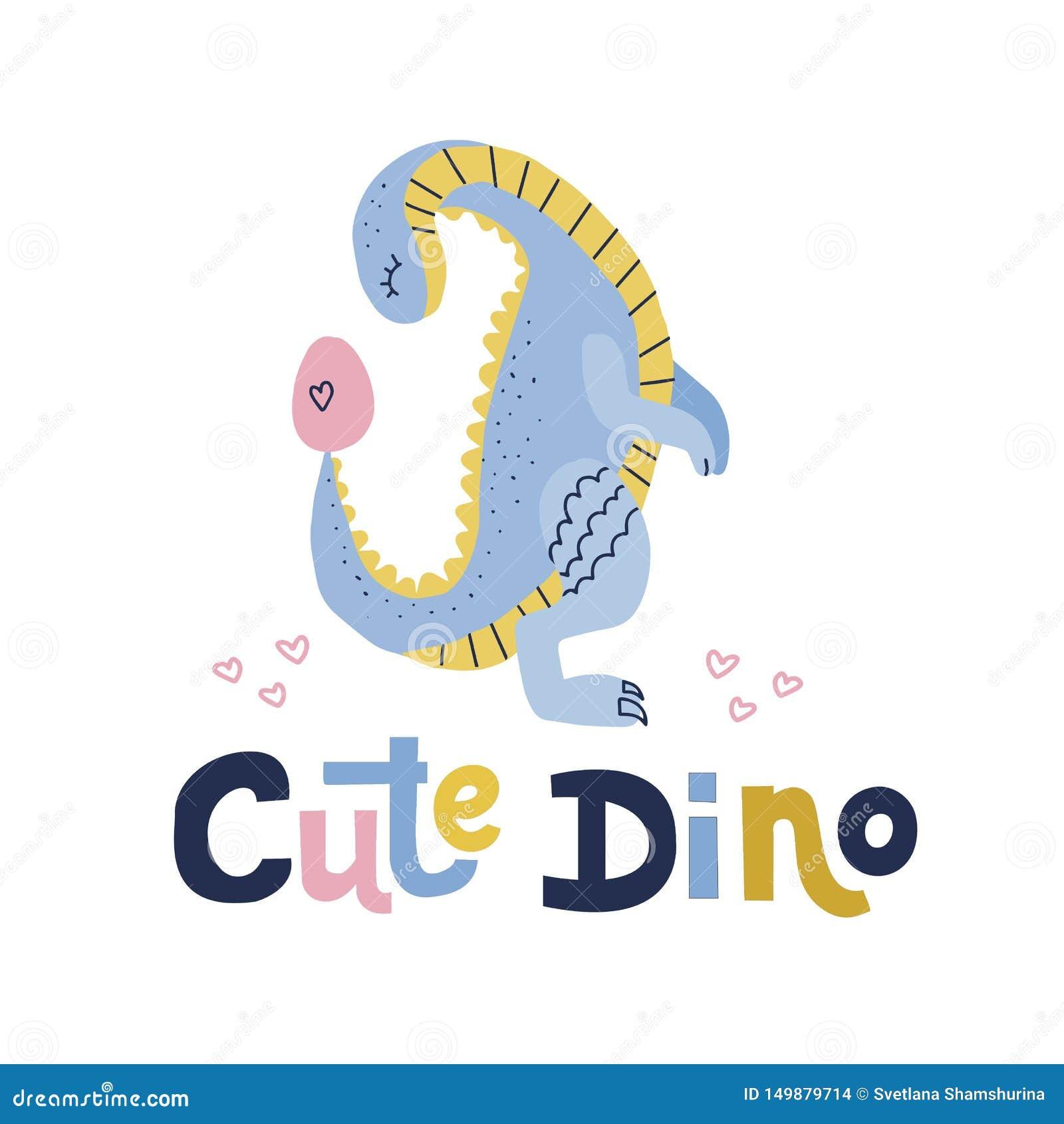 Dino sveglio che segna citazione con lettere Dinosauro blu con considerare l illustrazione disegnata a mano piana del fumetto del