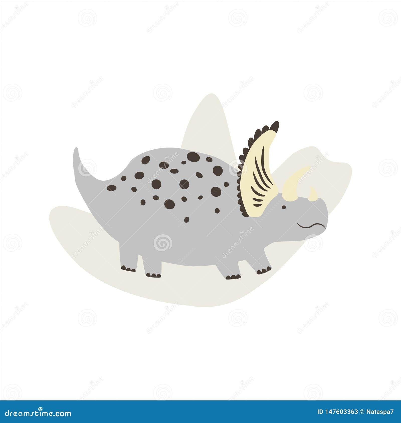 Cute dinosaur Triceratops. Vector image.