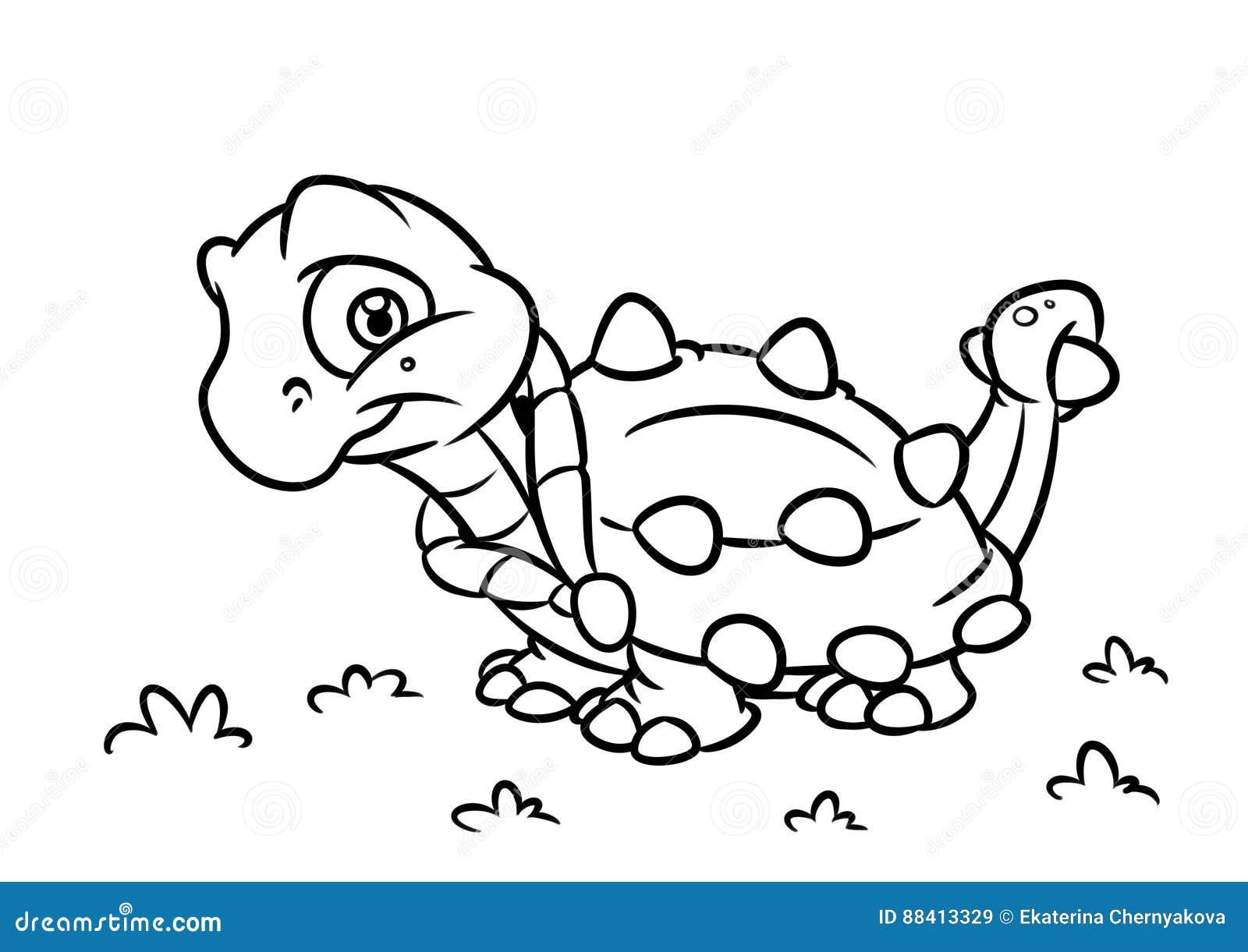 Dinosaur Ankylosaurus Coloring Page Cartoon Illustrations Stock ...