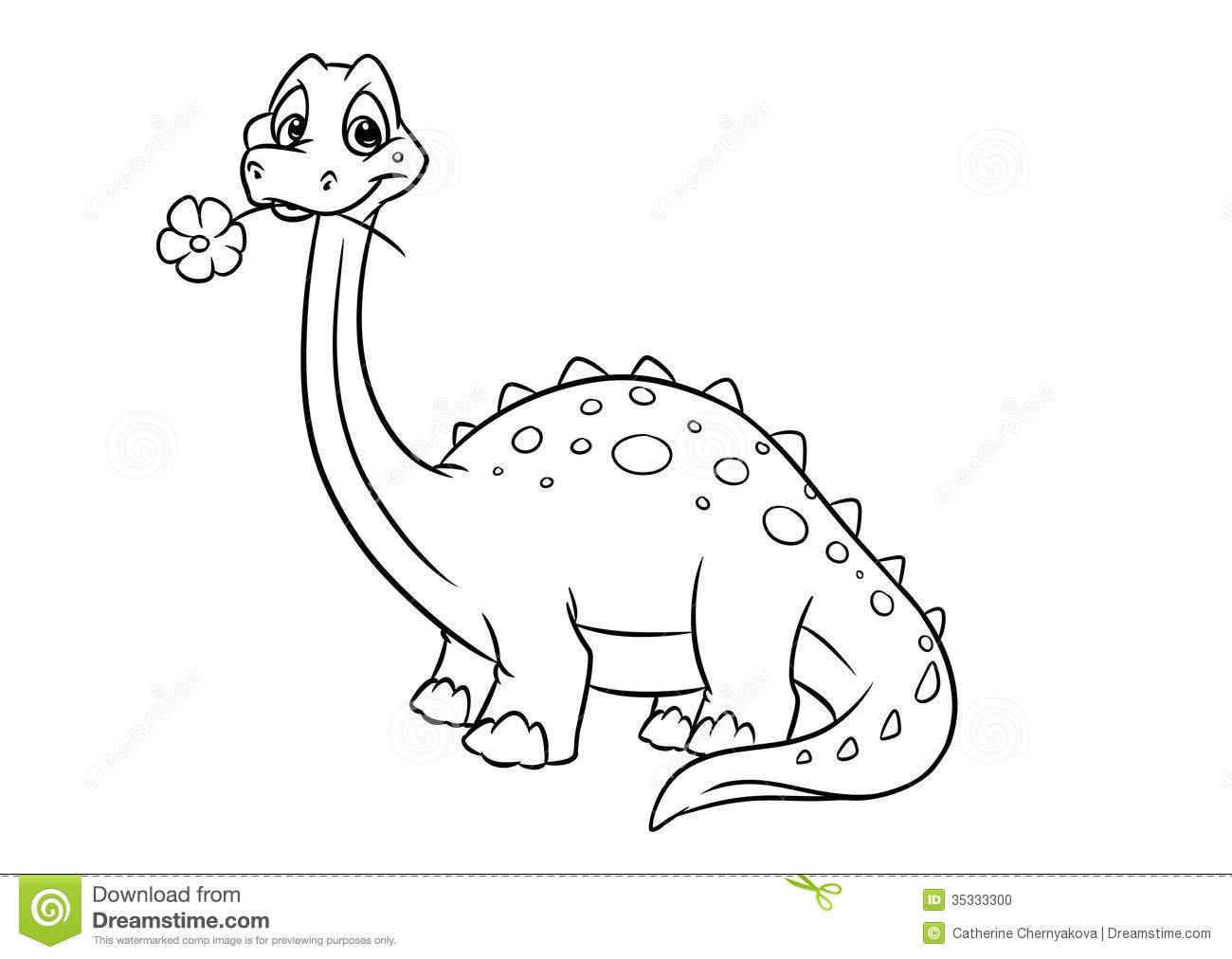Dinosaur Apatosaurus Coloring Pages Stock Illustration