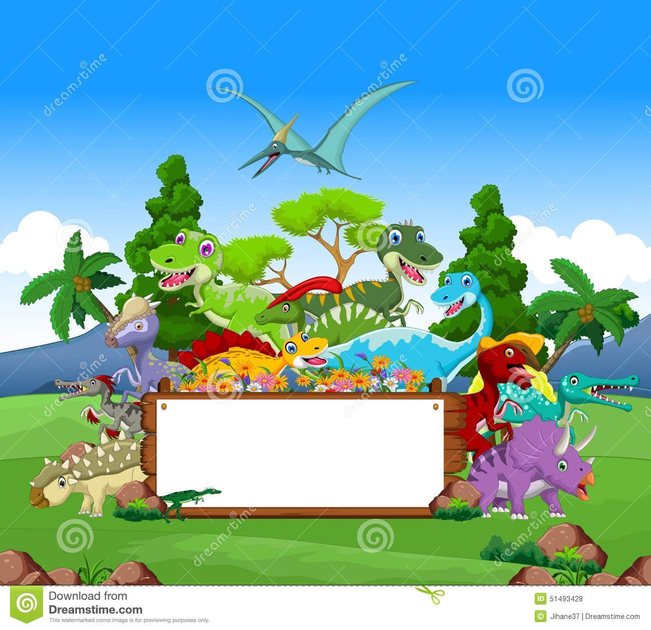dinosaur cartoon with landscape background and blank sign stock illustration