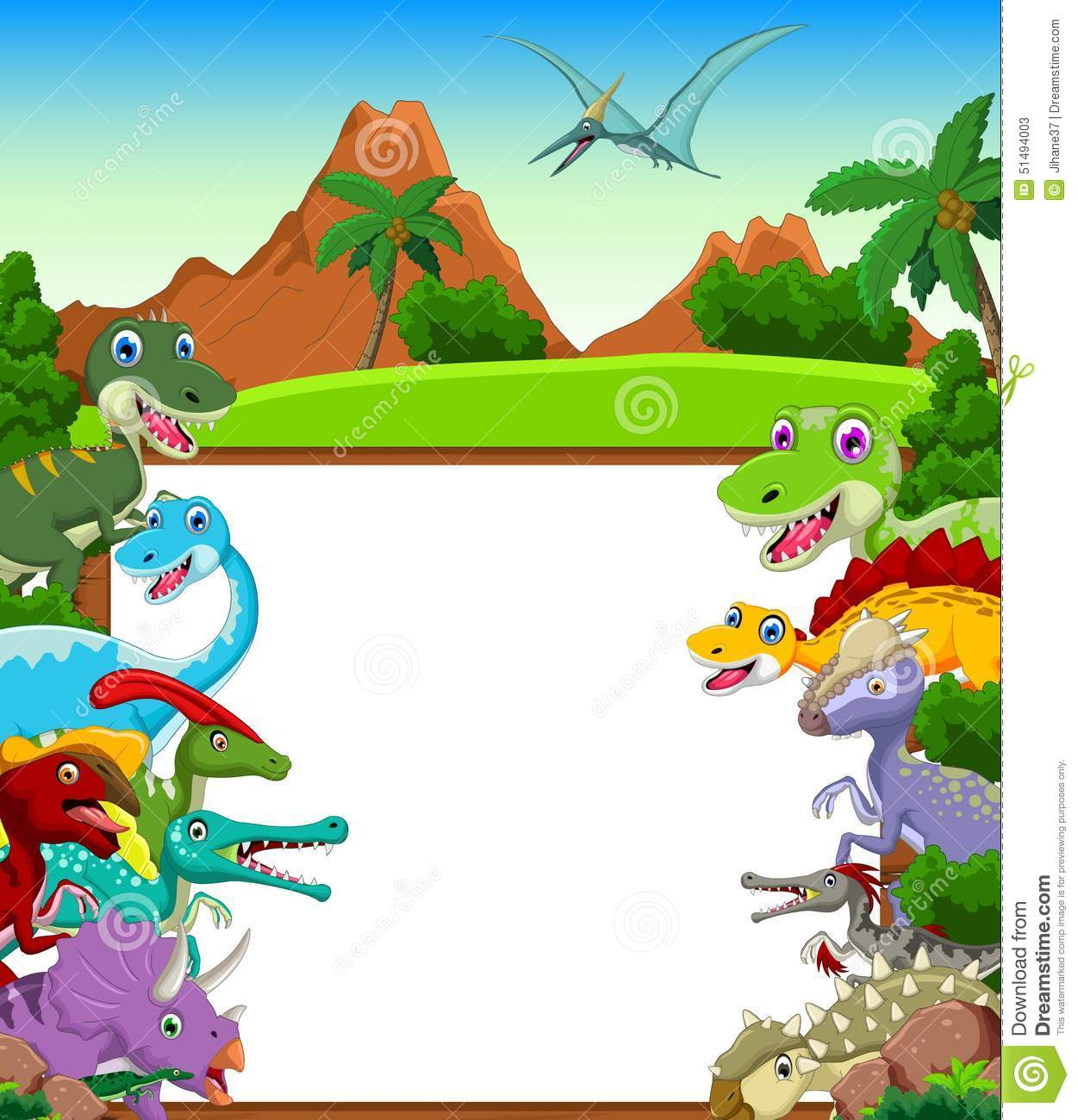 Illustration of Dinosaur cartoon with landscape background and blank ...